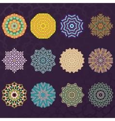 Set of Twelve Round Geometric Mandala kaleidoscope vector image