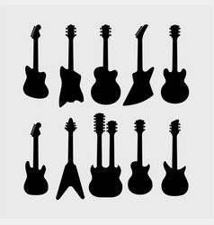 silhouette of electric guitars vector image vector image