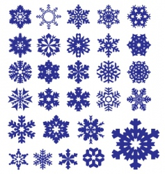 snowflakes silhouettes collection vector image vector image