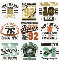 New York t-shirt set vector image