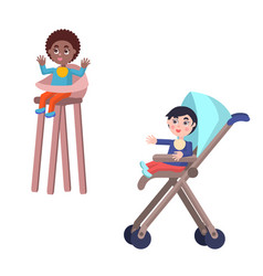 toddlers in baby carriage and highchair vector image vector image