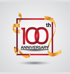 100 anniversary design with red color in square vector