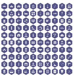 100 craft icons hexagon purple vector