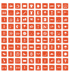 100 golf icons set grunge orange vector