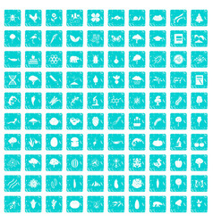100 microbiology icons set grunge blue vector