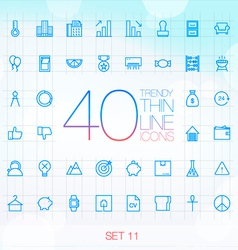 40 Trendy Thin Icons for web and mobile Set 11 vector