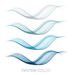 Abstract colorful transparent wave collection vector image