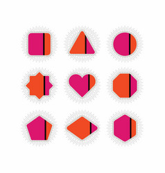Abstract retro pink orange geometrical icons set vector