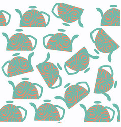 abstract tea pot seamless pattern it is located vector image