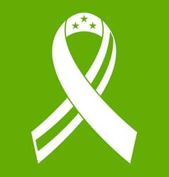 American ribbon icon green vector