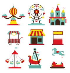 Amusement Park Objects Flat Icons Set vector