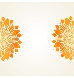Background watercolor sunflowers vector
