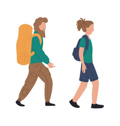backpackers woman and man at airport vector image