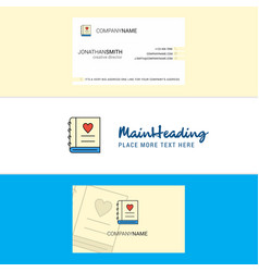 beautiful love diary logo and business card vector image