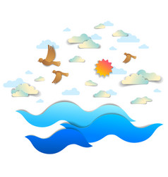 Beautiful seascape with sea waves birds clouds vector