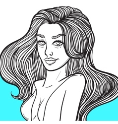 Beautiful young woman with curly hair vector