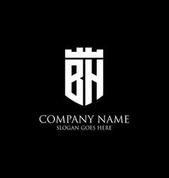 Bh initial shield logo design inspiration crown vector