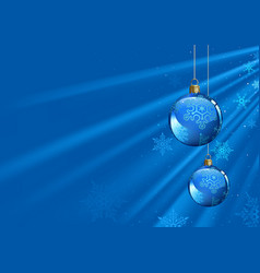 blue christmas background with baubles vector image
