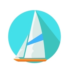Boat Sign Symbol in Round Web Button Yacht at Sea vector image