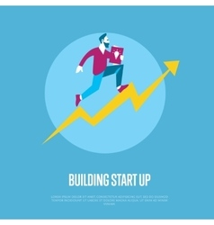 Building start up banner with businessman vector image