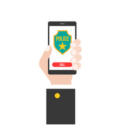 Business hand holding smart phone calling police vector