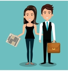 businessman and woman reading design vector image