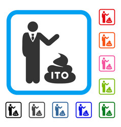 Businessman show ito shit framed icon vector