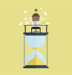 Businessman work hard on big sand clock vector