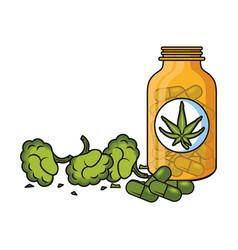 Cannabis martihuana sativa hemp cartoon vector