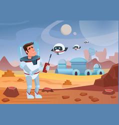 Cheerful cartoon spaceman vector