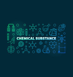 Chemical substance colored concept linear vector