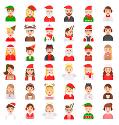christmas avatar and winter fashion icon set vector image