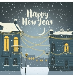 Christmas card with old town vector
