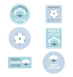 Collection cotton labels and organic cotton vector