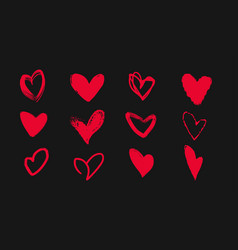 Collection of doodle hearts on a black background vector