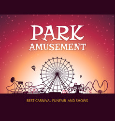 Color background of amusement park poster vector
