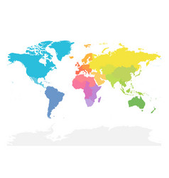 Colorful map of world divided into regions simple vector