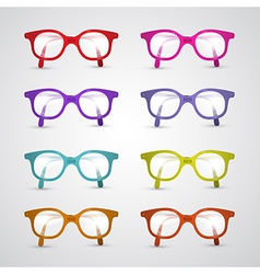 Colorful Set of Glasses Isolated on Grey vector image