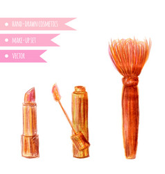 Cosmetics set hand drawn make up artist objects vector