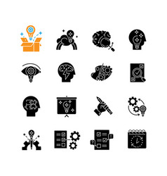 Creativity black glyph icons set on white space vector