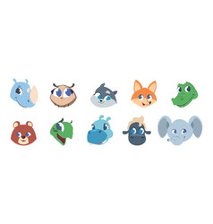 cute animal faces baby pets and wild forest vector image