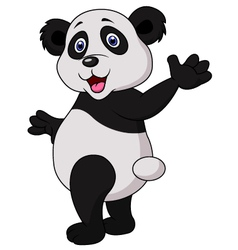 Cute panda cartoon waving hand vector image