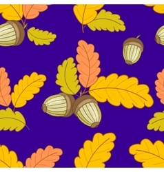 dark blue pattern with leaves and acorns-01 vector image