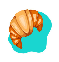 doodle croissant with syrup view from above vector image
