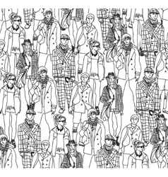 Fashion crowd people seamless pattern vector image vector image