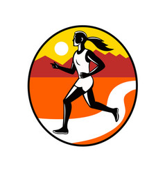 female runner mountains oval retro vector image