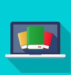 flat cartoon laptop with books concept of ebook vector image