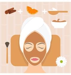 Flat design woman in natural mask of yogurt orange vector image