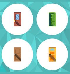 flat icon door set of exit entrance door and vector image vector image