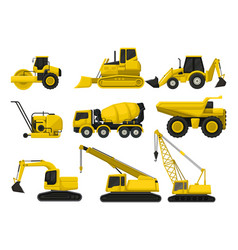 flat set of construction equipment special vector image